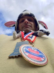 Rob Toonkel after he finished Veterans Day marathons