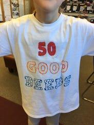 One of Bridget Halverson's third-grade students wears