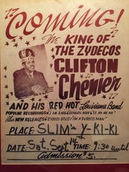 A billboard advertises a Clifton Chenier dance at Slim's