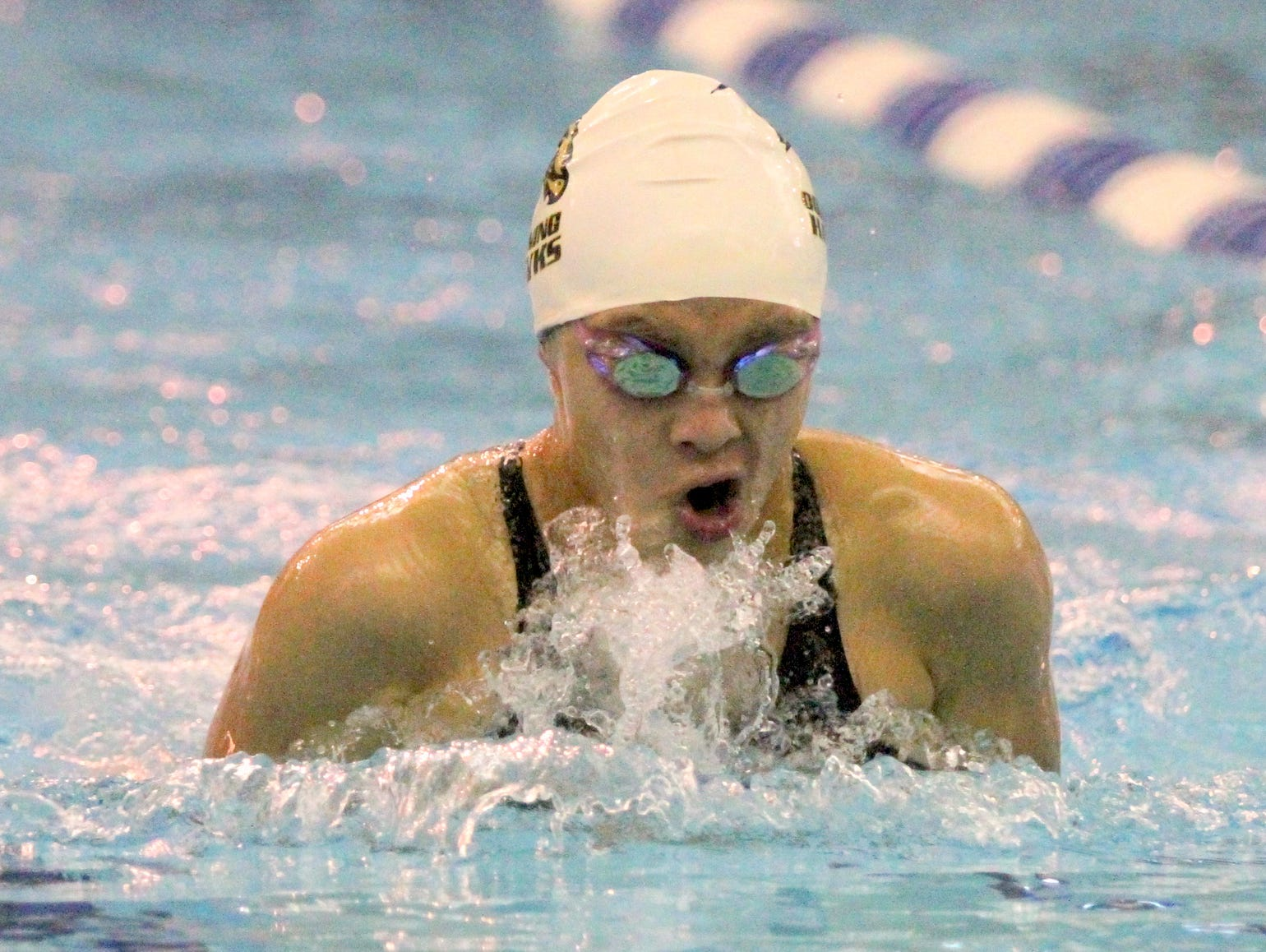 Corning's Stephanie Li swims in the 100-yard breaststroke consolation finals last year at the state meet at Ithaca College.