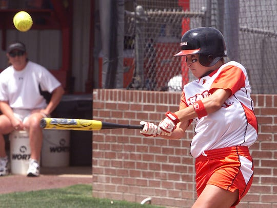 Jill Robertson gets a hit on Saturday afternoon as
