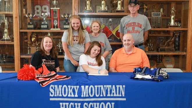 Smoky Mountain senior Hannah Clark will cheer in college for Tusculum (Tenn.).