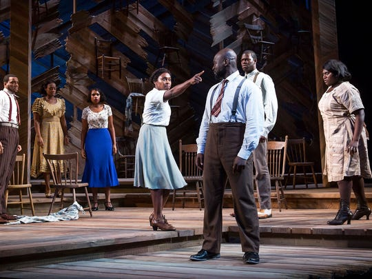 "Antoine L. Smith (from left), Patrice Covington, Jennifer Hudson, Cynthia Erivo, Isaiah Johnson, Kyle Scatliffe and Danielle Brooks in Broadway's ""The Color Purple."""