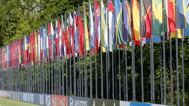 Flags hang near the FIFA headquarters in Zurich, Switzerland, on May 27, 2015.