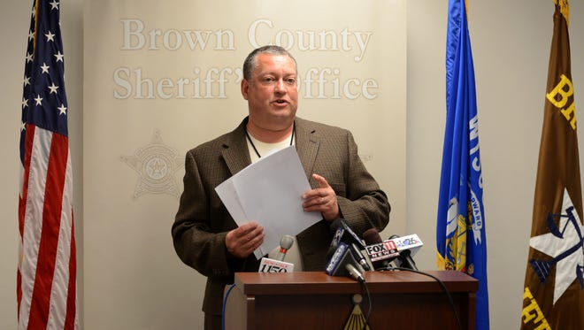 Captain Jeff Sanborn of the Brown County Sheriff's Office talks about results of the Internet Crimes Against Children Task Force's Operation Aegic, during a news conference on Monday.