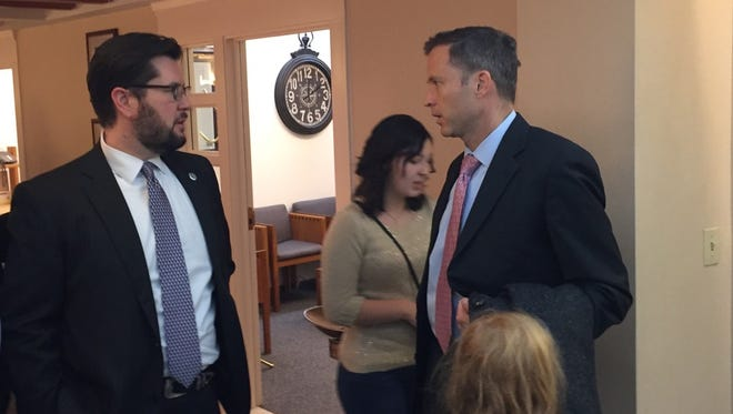 State House Minority Leader Brian Egolf, D-Santa Fe, speaks with House Majority Leader Nate Gentry, R-Albuquerque, at the Capitol on a recent morning. While the Republican-controlled House has passed many of the high-profile bills pushed by the governor, the Democrat-controlled Senate could slow the progress of those measures in the session's second half.