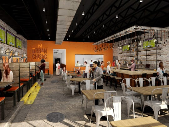 A rendering of the interior of Urban Chislic, a restaurant