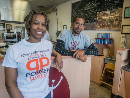 Aleah Hosea with her boss,  Wishbone Cafe owner Paul
