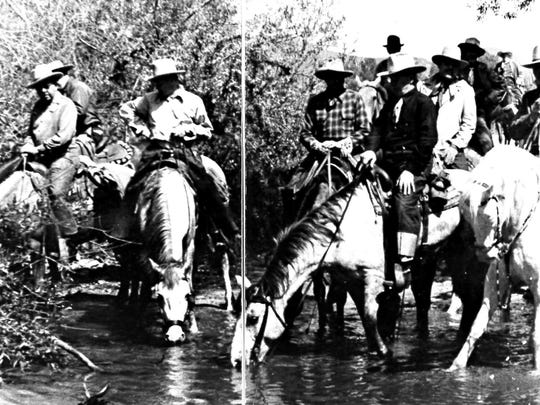 Desert Riders in Morongo Valley on way to Joshua Tree c. 1938.