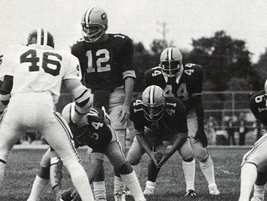 Red Bank Catholic's Lonnie Burgess (44) lines up in
