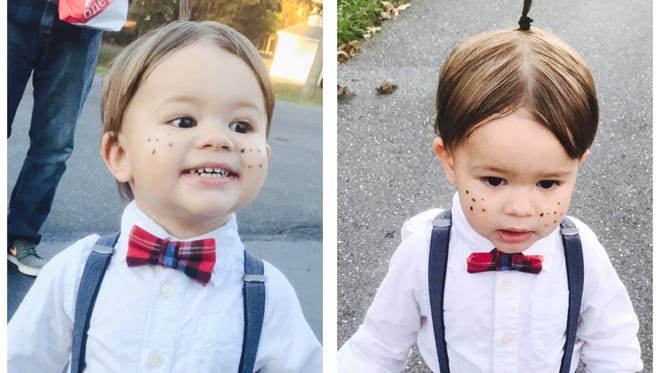 Beckham Fox, 20 months, of Stuarts Draft, is dressed as Alfalfa from the Little Rascals for Halloween 2017.