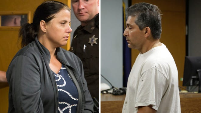 Valbona Lucaj, left, and Sebastiano Quagliata are charged with second-degree murder in 71A District Court in Lapeer, Mich., on Friday, Aug. 1,  2014.