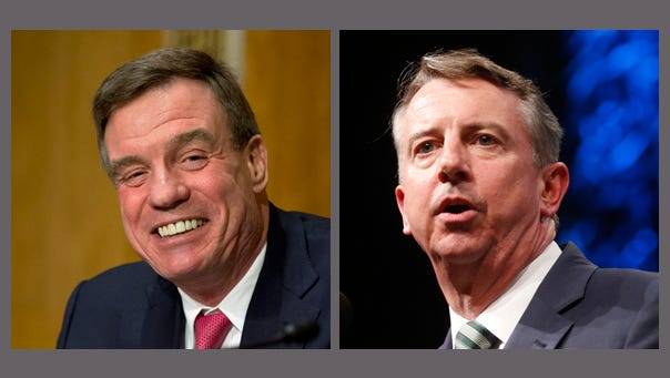 Democrat Sen. Mark Warner,(left) and Republican challenger Ed Gillespie (right) for the 2014 U.S. Senate seat from Virginia.