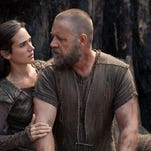 """Waiting on a rainy day: Jennifer Connelly and Russell Crowe in """"Noah,"""" out Friday."""