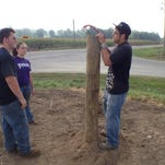 Hagerstown High School senior Matthew Bennett works recently on a fence post northeast of the school. When finished, the fence will hold up to 10 beef cattle.