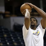 Indiana Pacers center Andrew Bynum warms up before the Pacers played the Boston Celtics.