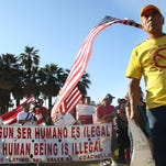 Filamon Rosales, a member of Comite Latino, an immigrant rights support group, participates in a May Day march at Frances Stevens Park in Palm Springs, California as part of a national day of marches around the U.S. to gather support for immigration reform. The Republican National Committee is looking at the Coachella Valley as part of its nationwide effort to tap into the influential Latino voting bloc.