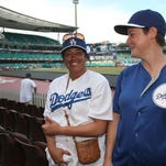Narelle Walton, right, and  Mereana Joseph arrive at the Sydney Cricket Ground where the Major League Baseball opening game between the Los Angeles Dodgers and Arizona Diamondbacks took place in Sydney on Saturday.