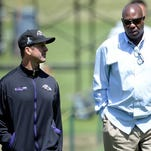 Head coach John Harbaugh general manager Ozzie Newsome could be looking to trade down to aquire more picks in this year's draft.