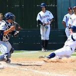 COS' Jacob Avery is tagged out at home plate during a Central Valley Conference game against Merced on Sunday in Visalia.