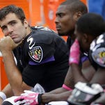Ravens quarterback Joe Flacco completed 20 of 34 passes for 342 yards with two TDs on Sunday.
