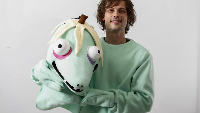 """Actor and author Matthew Gray Gubler poses for a portrait in New York wearing a costume of his title character in his children's book """"Rumple Buttercup: A Story of Bananas, Belonging and Being Yourself."""""""