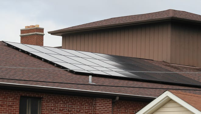 Solar panels on the roof at First Presbyterian Church.