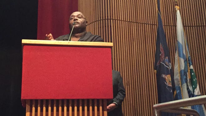 Wilbur Aldridge, director of the NAACP Mid-Hudson and Westchester region, speaks at a forum on police-community relations Thursday night at Rockland Community College.