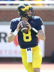 Michigan quarterback John O'Korn in the spring game Saturday, April 15, 2017 at Michigan Stadium in Ann Arbor.