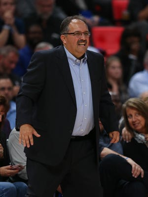 Pistons head coach Stan Van Gundy on the bench during the game against the Hornets, Wednesday, Oct. 18, 2017 at Little Caesars Arena in Detroit.