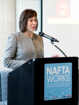 Wisconsin Department of Agriculture, Trade and Consumer Protection Secretary Sheila Harsdorf talks about Wisconsin agriculture and NAFTA  on Dec. 15 in Milwaukee.