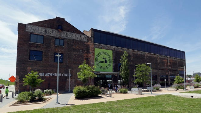 This July 16, 2015. file photo shows the exterior of the Department of Natural Resources Outdoor Adventure Center in Detroit.