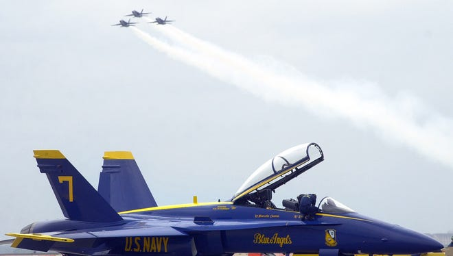 news- F/A-18 Hornets fly over NAS-CC during a practice show Thursday afternoon.