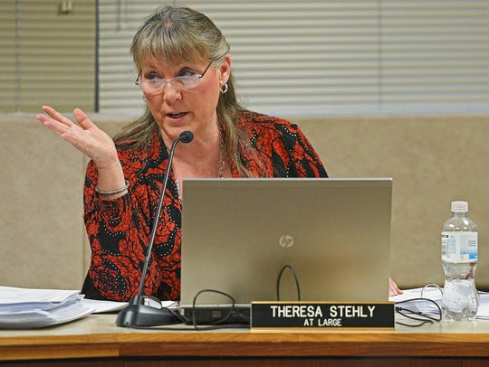Sioux Falls City Councilor Theresa Stehly speaks during