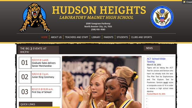 A screenshot from what appears to be a fake Bossier school with an elaborate website.