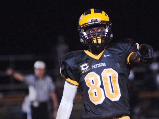 David Njoku points to the sideline during a game for the Panthers in Cedar Grove on Nov. 1, 2013.