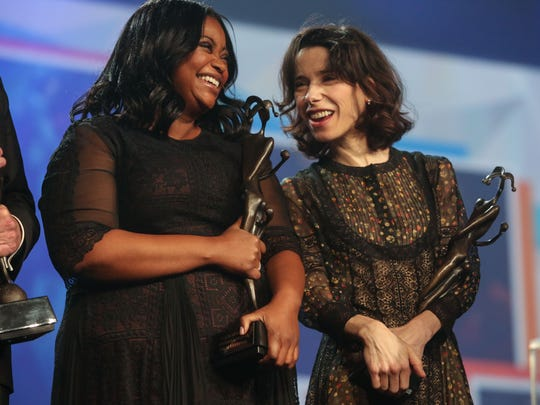 'Shape of Water' stars Octavia Spencer and Sally Hawkins share a laugh after they're presented the Vanguard Award at the 29th Annual Palm Springs International Film Festival Gala on Tuesday, January 2, 2018 in Palm Springs, CA
