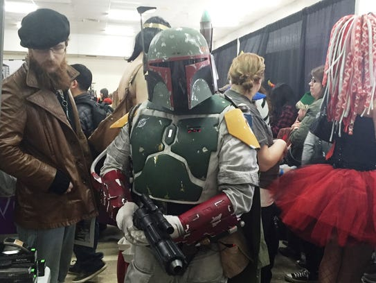 Don Bickel, of Harrisburg, dresses as Boba Fett from