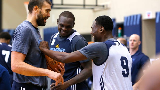 September 27, 2016 - Marc Gasol, Zach Randolph and Tony Allen joke around with each other during the first day of Memphis Grizzlies training camp. (Mike Brown/The Commercial Appeal)