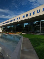 Gerald Ford and first lady Betty Ford are buried outside a Grand Rapids museum dedicated to his presidency.