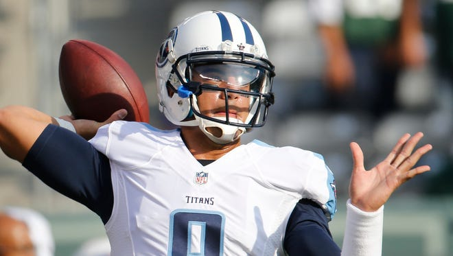 Tennessee Titans quarterback Marcus Mariota warms up before Sunday's game against the New York Jets,  Sunday, Dec. 13, 2015, in East Rutherford, N.J.