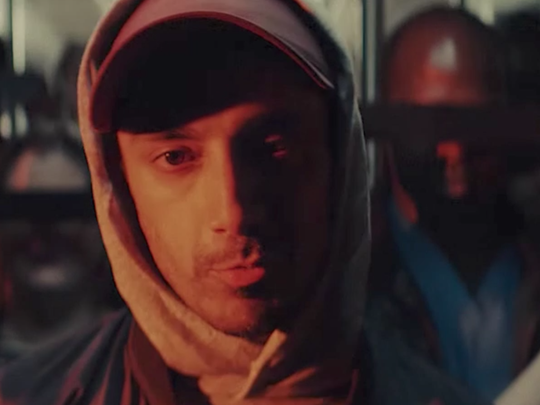Riz Ahmed in his music video for 'The Hamilton Mixtape: