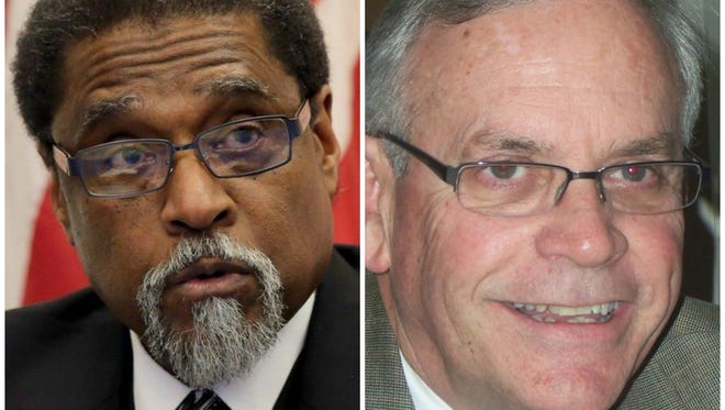 Darnell Earley, left, and Jerry Ambrose both have ties to Ingham County government, both served stints as emergency managers in Flint, and both were charged on Tuesday, Dec. 20, 2016 in connection with the Flint water crisis.