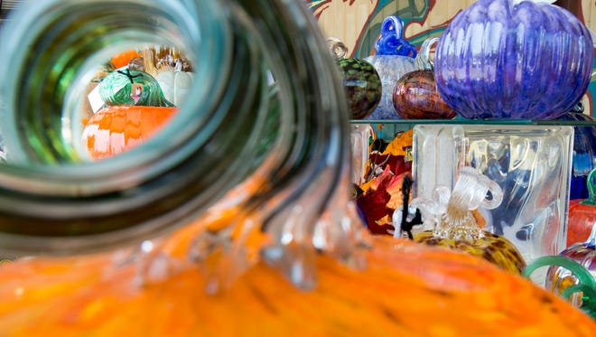 An assortment of glass pumpkins are pictured on Wednesday, Oct. 11, 2017, during First City Art Center's Media Day to preview the 11th annual Pumpkin Patch. More than 4,000 glass and clay pumpkins will be available at the Pumpkin Patch Preview Party on Friday, Oct. 13, 2017, and the Pumpkin Patch on Saturday, Oct. 14, 2017.