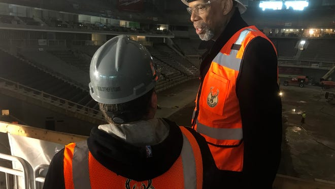 Former NBA great Kareem Abdul-Jabbar gets a look at the new Bucks arena on Wednesday.
