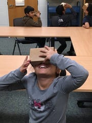 The Google Cardboard viewer looks like a little box,