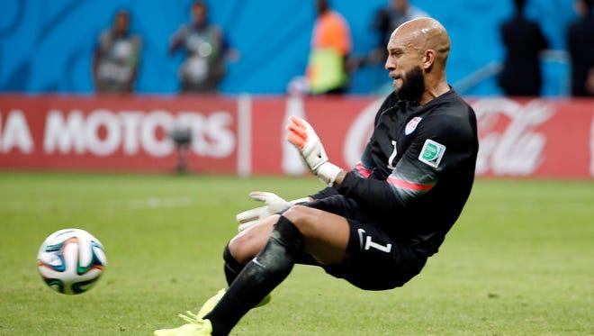 United States goalkeeper Tim Howard (1) makes a save against Belgium