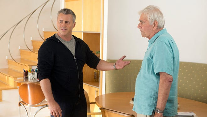 Matt LeBlanc as himself and Alex Rocco as Dick in a scene from 'Episodes.'