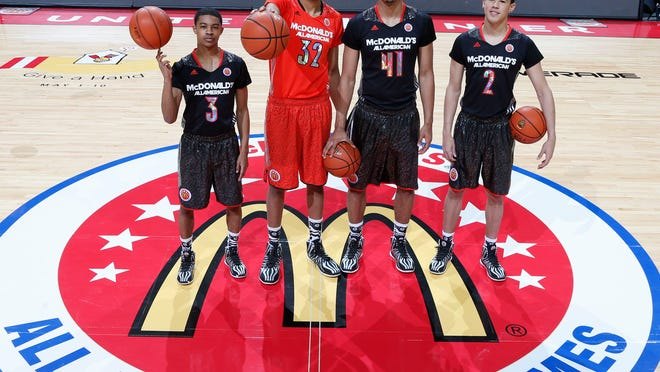 McDonald's All Americans who will be attending University of Kentucky, from left to right, are Tyler Ulis, Karl-Anthony Towns, Trey Lyles, and Devin Booker. The foursome posed for a photo April 2 before the game at the United Center in Chicago.