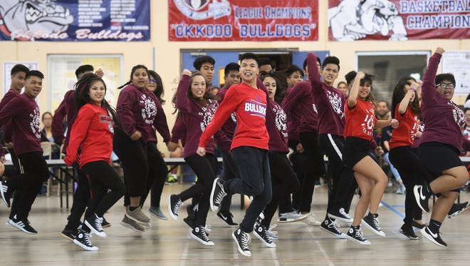 The Okkodo High School senior class steps up to the challenge during a dance battle at their last pep rally on April 20, 2018.